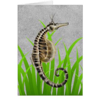 Poster de animal gonflé par pot d'hippocampe carte de vœux