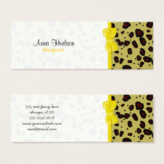 Poster de animal, guépard repéré - jaune noir mini carte de visite