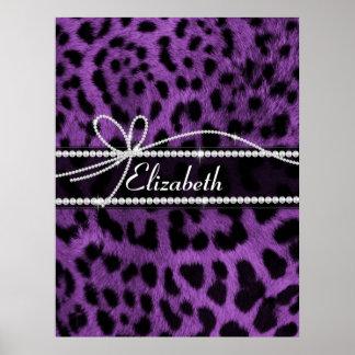 Poster de animal noir pourpre de léopard de beau f