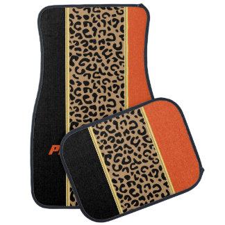 Poster de animal orange et noir de léopard tapis de voiture