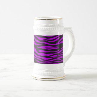 Poster de animal, rayures de zèbre - pourpre noir chope à bière