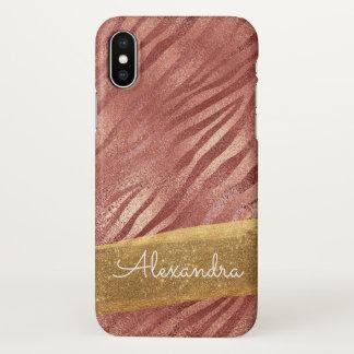 Poster de animal rose de rose d'or avec des coque iPhone x