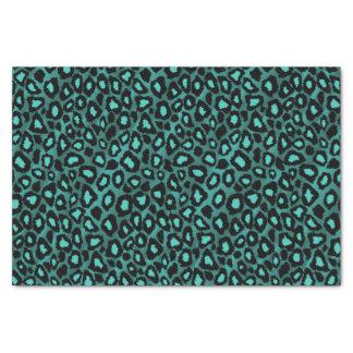 Poster de animal turquoise et noir de léopard papier mousseline