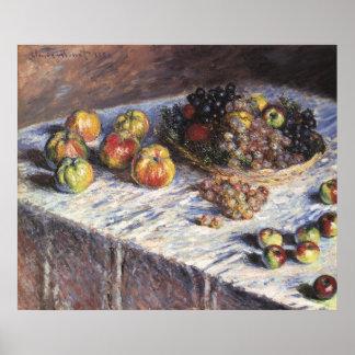 Poster De Claude Monet toujours la vie avec des pommes et