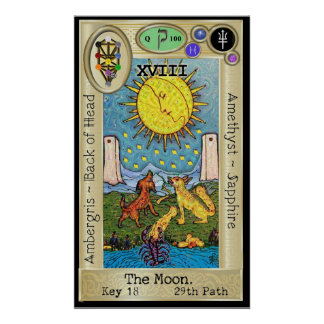 Poster ~ de la clé 18 de tarot d'Ifdawn Deepdream la lune