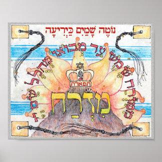 Poster ~ de Mizrach est - direction colorée de prière de