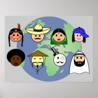 """Poster De """"personnes affiche dans le monde entier"""""""