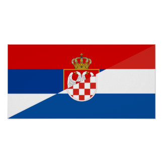 Poster de symbole de pays de drapeau de la Serbie Croatie