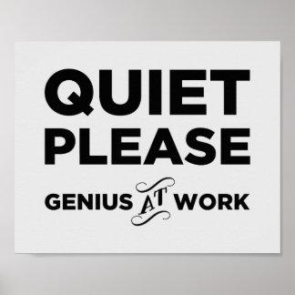 Poster De tranquillité génie svp au travail