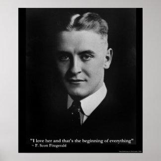 Poster Début de Scott Fitzgerald affiche de citation de