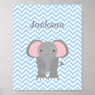 Poster Décor de crèche personnalisé par éléphant bleu de