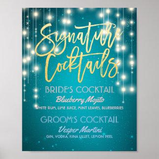 Poster Décor de mariage de menu de boissons de cocktail
