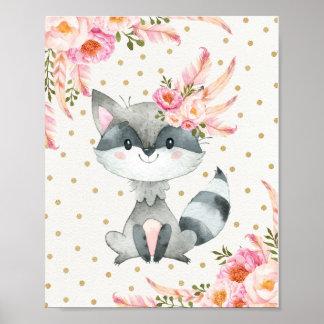 Poster Décor floral de Boho d'art de crèche de raton