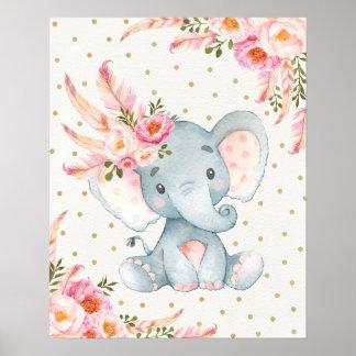 Poster Décor floral de Boho d'éléphant d'art floral rose