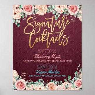 Poster Décor floral de mariage de menu de boissons de