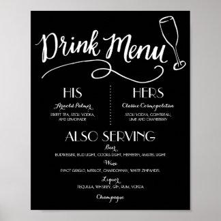 Poster Décor l'épousant du menu   de boissons de