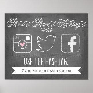 Poster Décor l'épousant social de Hashtag | de médias de