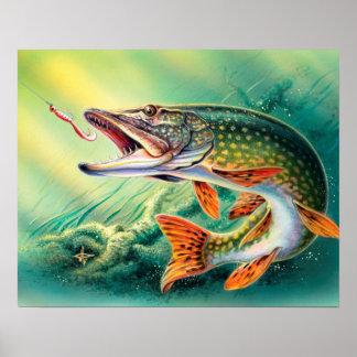Poster Décor vintage de mur de siège social de poissons