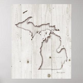 Poster Découpage du bois blanc de la silhouette | du
