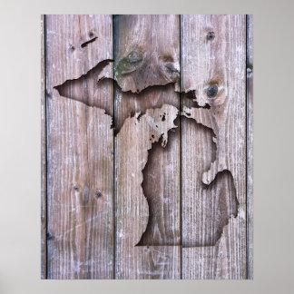 Poster Découpage du bois de Faux du Michigan découpé par
