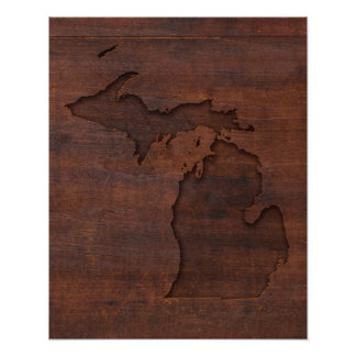 Poster Découpage du bois rouge du Michigan |