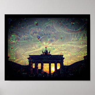 Poster DeepDream Porte de Brandebourg 3.3.F de Berlin,