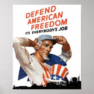 Poster Défendez la liberté américaine -- 2ÈME GUERRE