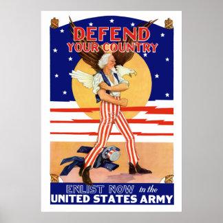 Poster Défendez votre pays enrôlent maintenant