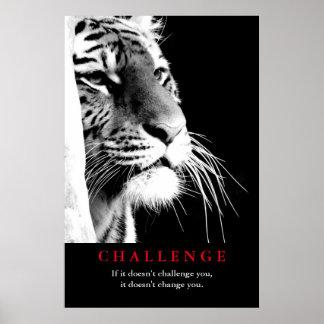 Poster Défi de motivation de tigre noir et blanc