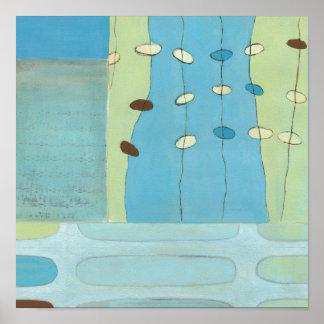 Poster Défilé bleu abstrait d'oeufs