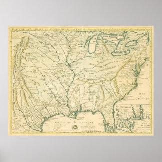 Poster Delisle. Carte de la Louisiane…. Paris, 1718