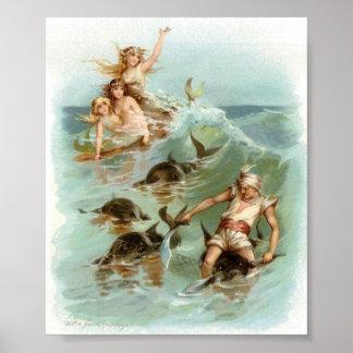 Poster Délivrance de dauphin d'acclamation de sirènes,