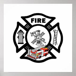 Poster Délivrance rouge de camion de pompiers