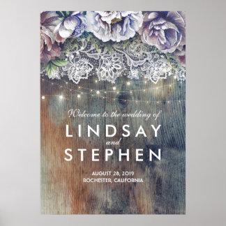 Poster Dentelle florale bleue et marron épousant le signe