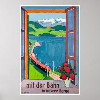Poster Der Bahn de MIT dans l'unsere Berge, affiche