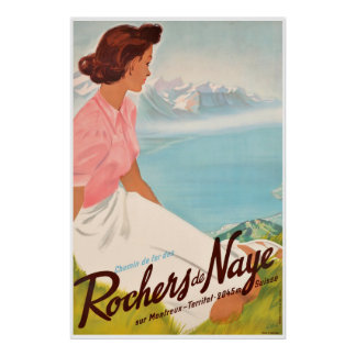 Poster DES Rochers de Naye, sur Montreux de Chemin de