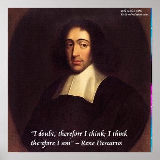 """Poster Descartes """"que je pense que donc je suis"""" affiche"""