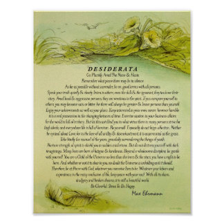 Poster Desiderata de plume tombés par vert