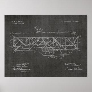 Poster Dessin 1906 d'art de brevet d'avion de frères de