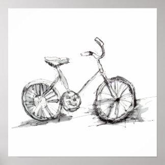 Poster Dessin artistique mignon de vélo
