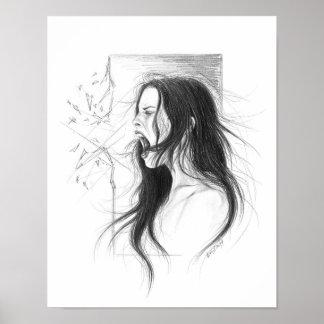 Poster Dessin au crayon fâché criard de femme