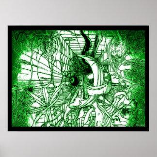 Poster Dessin génial surréaliste psychédélique de style