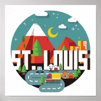 Poster Dessin géométrique de St Louis, Missouri