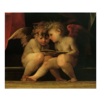 Poster Deux anges lisant par Rosso Fiorentino, anges