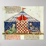 Poster Deux Arabes jouant aux échecs dans une tente