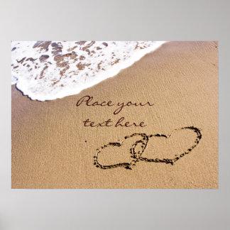 Poster Deux coeurs dans le sable