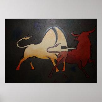 Poster Deux combats de taureaux