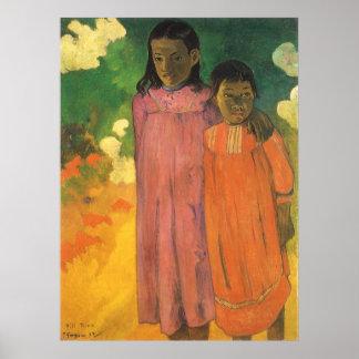 Poster Deux soeurs par Paul Gauguin, impressionisme