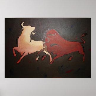 Poster Deux taureaux de combat