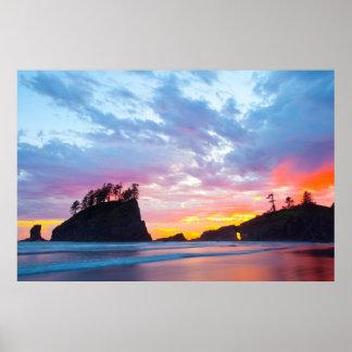 Poster Deuxième plage au coucher du soleil, Washington